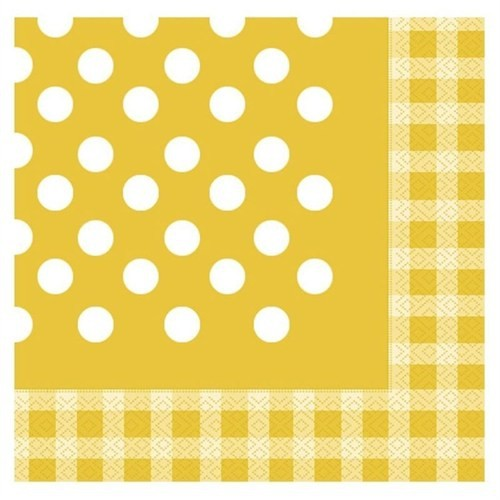 Pandoli Kağıt Parti Peçetesi 20 Adet Sarı Kareli Puanlı 33 Cm