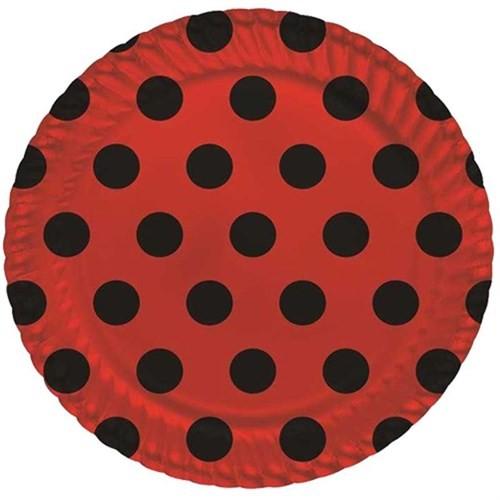 Pandoli 8 Adet Karton Parti Tabağı Kırmızı Siyah Puantiyeli 22 Cm