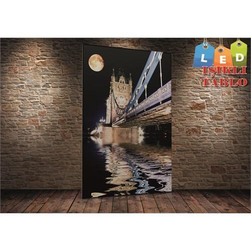 Tablo İstanbul Köprü Dolunay Led Işıklı Kanvas Tablo 45 X 65 Cm
