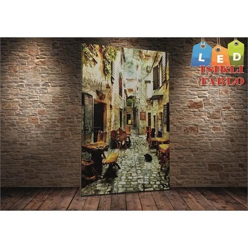 Tablo İstanbul Nostalji Sokak Led Işıklı Kanvas Tablo 45 X 65 Cm