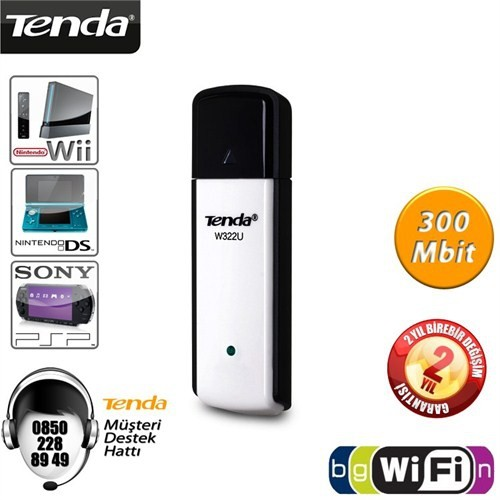 Tenda W322U 300Mbps Wireless-N USB Adaptör