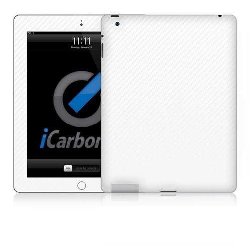Icarbons Apple Ipad 2.Nesil Ve 3.Nesil 3G 3M Beyaz Karbon Kaplama Kılıf
