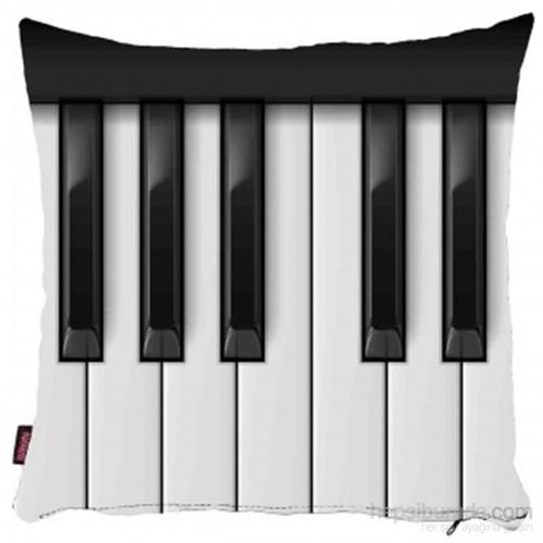 Bengü Accessories Piyano Tuşları Desenli Dekoratif Yastık