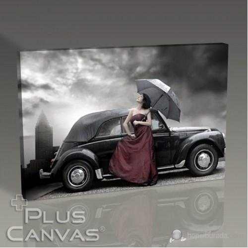 Pluscanvas - Beautiful Woman İn Fornt Of Black Car Tablo