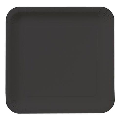 Pandoli Siyah Renk Büyük Boy 23 Cm Plastik Parti Tabağı 8 Adet