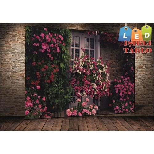 Tablo İstanbul Lila Çiçekler Led Işıklı Kanvas Tablo