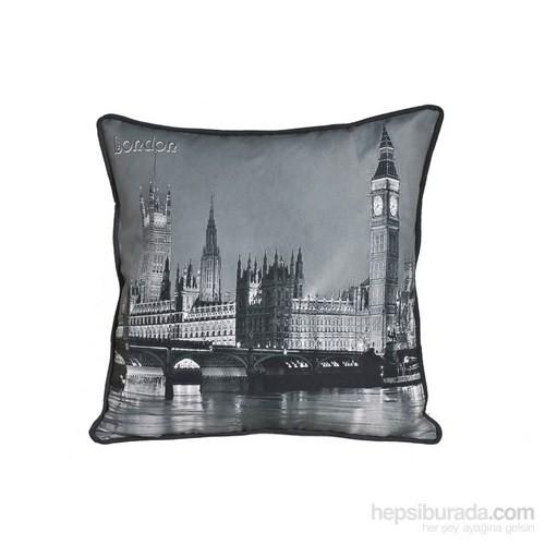 Yastıkminder Siyah Beyaz Londra Dijital Baskılı Yastık