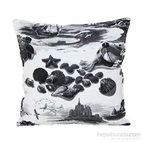 Yastıkminder Koton Siyah Beyaz Deniz Figürlü Dekoratif Yastık