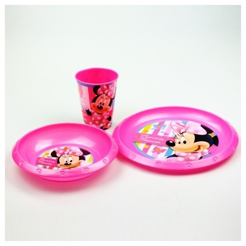 Minnie Plastik 3'Lü Set (Kase,Tabak,Bardak)