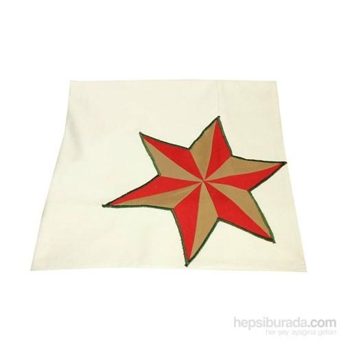 Yastıkminder Koton Beyaz Yıldız Aplikeli Dikdörtgen Masa Örtü