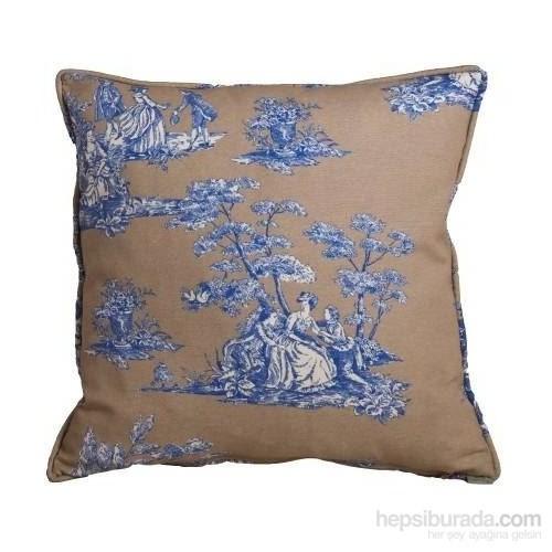 Yastıkminder Koton Bej Mavi Toile Du Jouy Desen Dekoratif Yastık