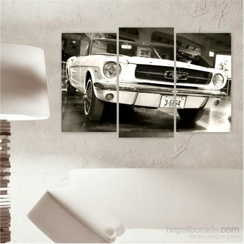 Dekoriza Klasik Ford Mustang Araba 3 Parçalı Kanvas Tablo 80X50cm