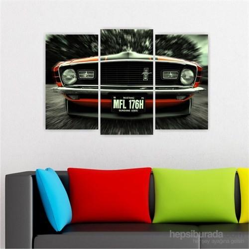 Dekoriza Ford Mustang Spor Araba 3 Parçalı Kanvas Tablo 80X50cm