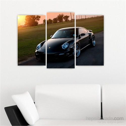 Dekoriza Porsche Siyah Spor Araba 3 Parçalı Kanvas Tablo 80X50cm