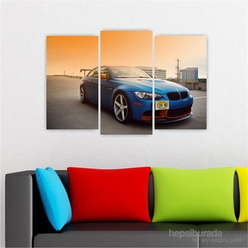 Dekoriza Bmw 3.20 Spor Araba 3 Parçalı Kanvas Tablo 80X50cm