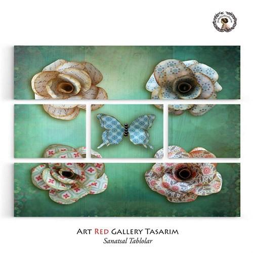 Artred Gallery Beş Parça Yeşil Kağıt Objeler126X95