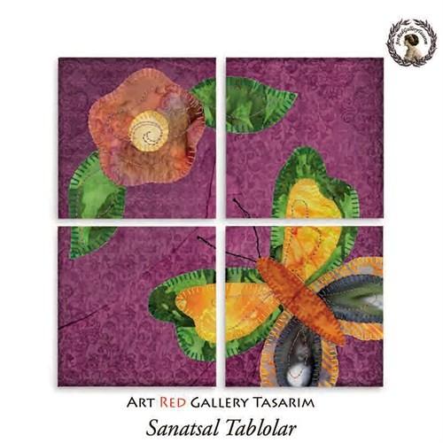 Artred Gallery Mor Kumaş Çiçek Dört Parça 83X83 Tablo