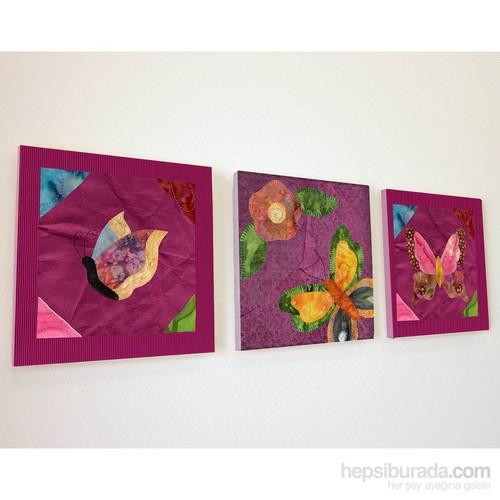 Artred Gallery Mor Kumaş Objeler Üç Parça 50X155 Tablo