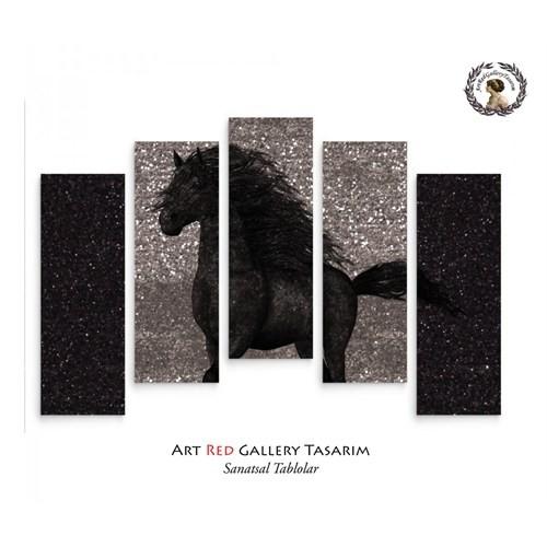 Artred Gallery 5 Parçalı Siyah Simli At Kanvas Tablo72X110
