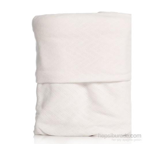 Tril Tek Kişilik Beyaz Melanj Penye Stretch Battaniye