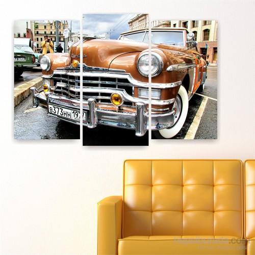 Dekoriza Klasik Chrysler Araba 3 Parçalı Kanvas Tablo 80X50cm