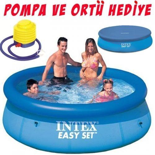 İntex 56970 Aile Havuzu Şişme 244X76cm Örtü Ve Pompa Hediye!