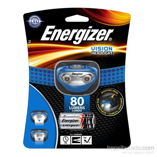 Energizer Vision 80 Lümens Headlight Advanced 3AAA Pilli Fener