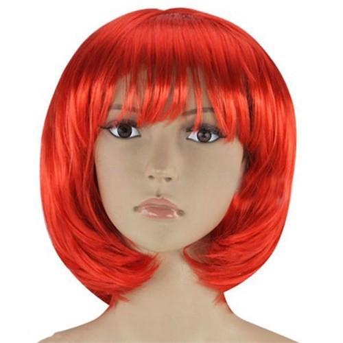 Pandoli Kırmızı Renk Parti Peruğu Küt Saç