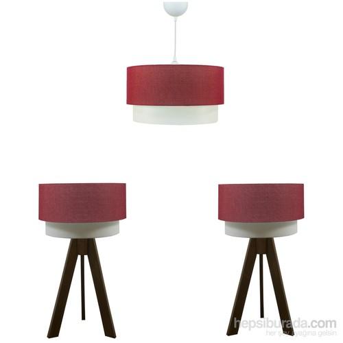 Crea Lighting Doubleshade Ceviz Yatak Odası Set/Keten/Kırmızı