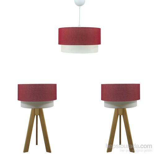 Crea Lighting Doubleshade Naturel Yatak Odası Set/Keten/Kırmızı