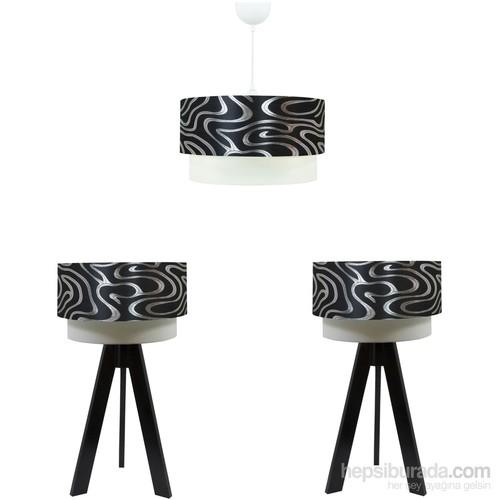 Crea Lighting Doubleshade Siyah Yatak Odası Set /Gümüş Dalga