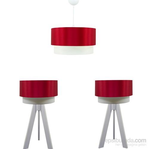 Crea Lighting Doubleshade Beyaz Yatak Odası Set/Saten/Kırmızı