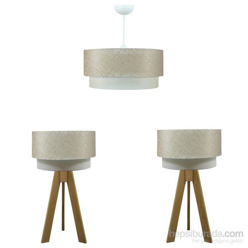 Crea Lighting Doubleshade Naturel Yatak Odası Set /File/Sütlü Kahve