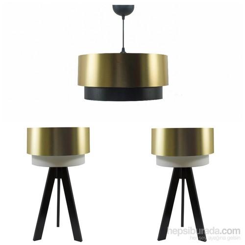 Crea Lighting Doubleshade Siyah Yatak Odası Set /Pvc/Gold
