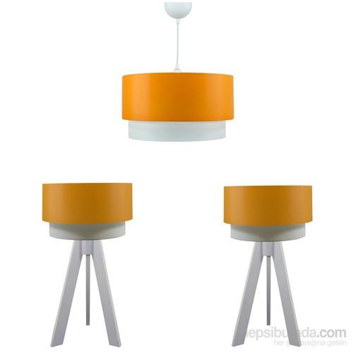 Crea Lighting Doubleshade Beyaz Yatak Odası Set/Scala/Turuncu