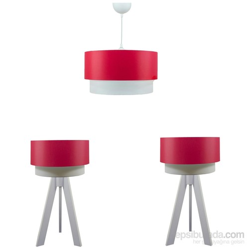 Crea Lighting Doubleshade Beyaz Yatak Odası Set/Scala/Kırmızı