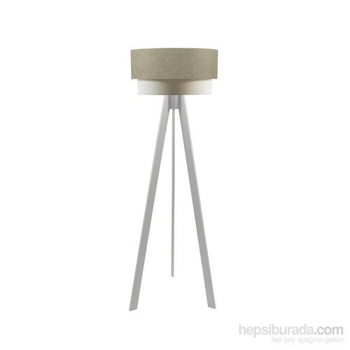 Crea Lighting Doubleshade Beyaz Tripod Lambader/Keten/Sütlü Kahve
