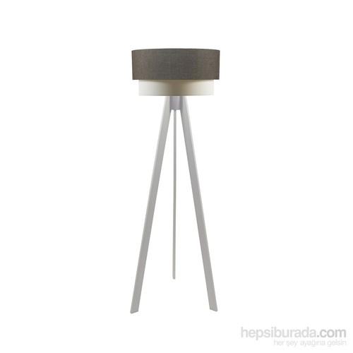 Crea Lighting Doubleshade Beyaz Tripod Lambader/Keten/Kahve