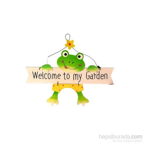 Bosphorus Kurbağa Model Ahşap Hoş Geldin Tabelası Sarı Şortlu