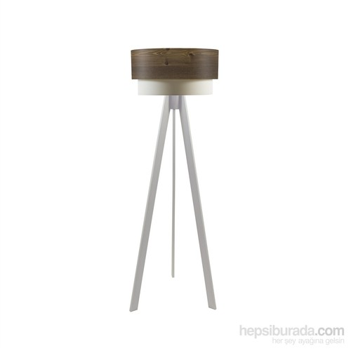 Crea Lighting Doubleshade Beyaz Tripod Lambader/Wood/Rustik