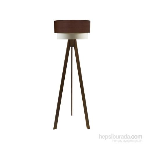 Crea Lighting Doubleshade Ceviz Tripod Lambader/Wood/Huş