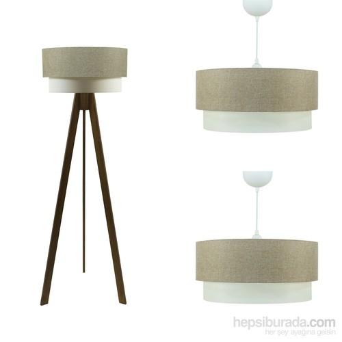 Crea Lighting Doubleshade Ceviz Salon Set /Keten/Sütlü Kahve