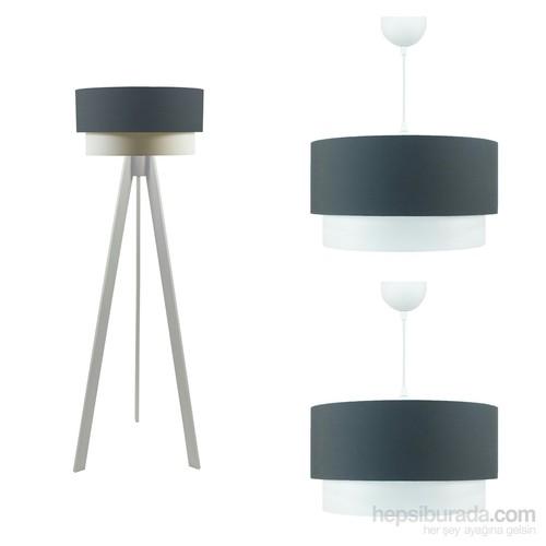 Crea Lighting Doubleshade Beyaz Salon Set/Cotton/Füme