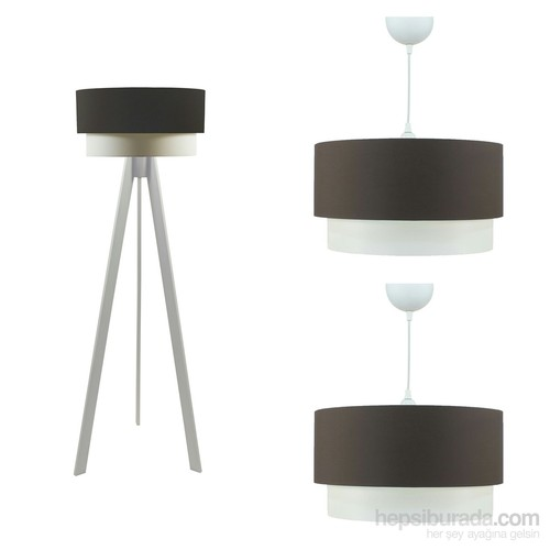 Crea Lighting Doubleshade Beyaz Salon Set/Cotton/Kahve