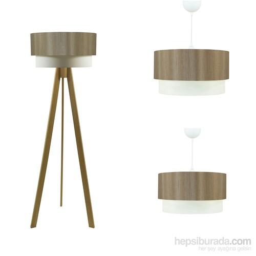 Crea Lighting Doubleshade Naturel Salon Set/Saten/Vizon