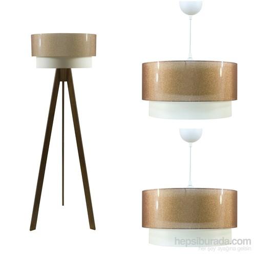 Crea Lighting Doubleshade Ceviz Salon Set/Şeffaf /Bakır