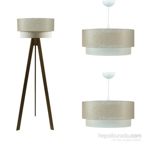 Crea Lighting Doubleshade Ceviz Salon Set /File/Sütlü Kahve