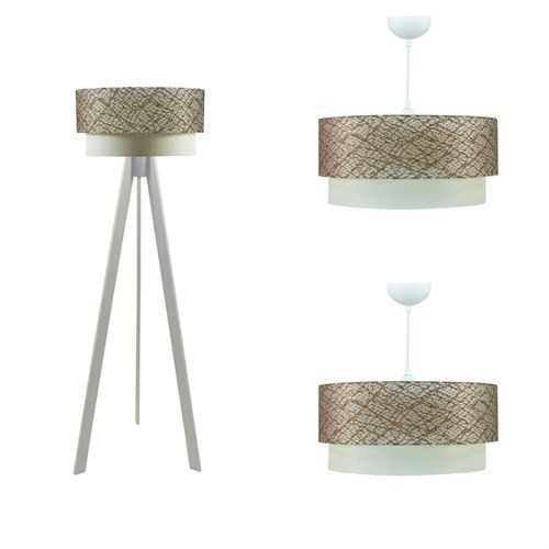 Crea Lighting Doubleshade Beyaz Salon Set/File/Kahve