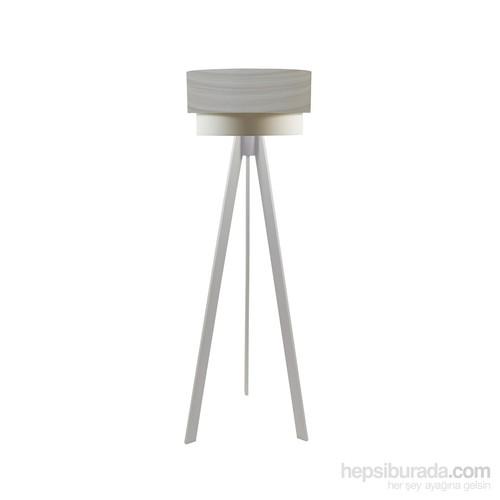 Crea Lighting Doubleshade Beyaz Tripod Lambader/Wood/Akçaağaç