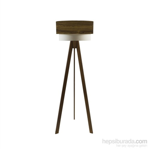 Crea Lighting Doubleshade Ceviz Tripod Lambader/Wood/Okaliptus